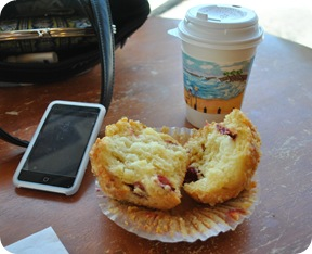 Orange cranberry muffin and White Tiger latte