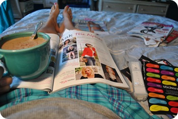 Coffee, magazines, and movies in bed