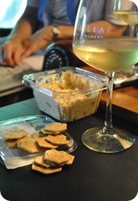 crackers, crab dip, riesling