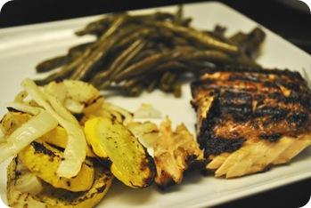 salmon, squash, onions, green beans