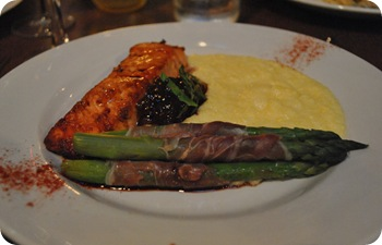 salmon, polenta, and prosciutto-wrapped asparagus