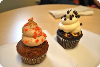 pumpkin and black bottom cupcakes