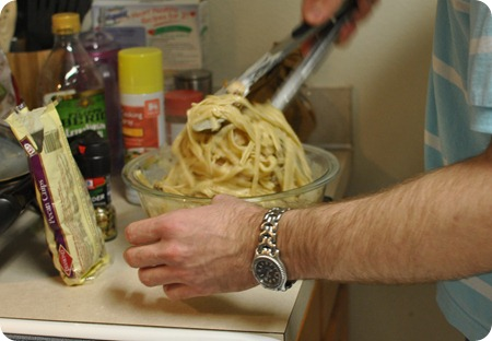 Stephen making dinner