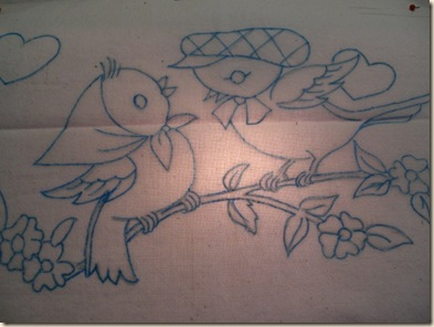 Transferred vintage embroidery pattern