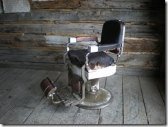 Antique barber chair in saloon