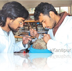 Anurag Rijal (Left) & Bhabuk Koirala in a Lab