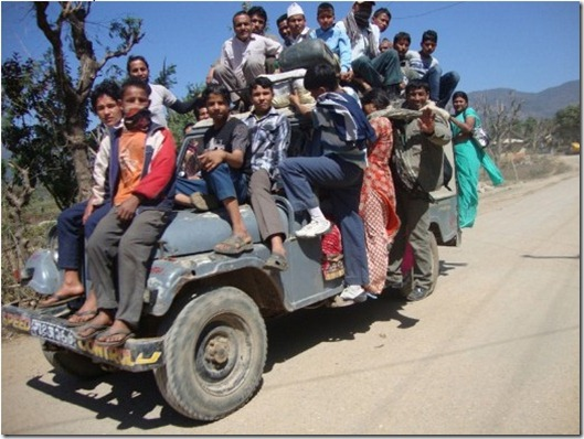 Too much passenger in a small jeep. - Nepal