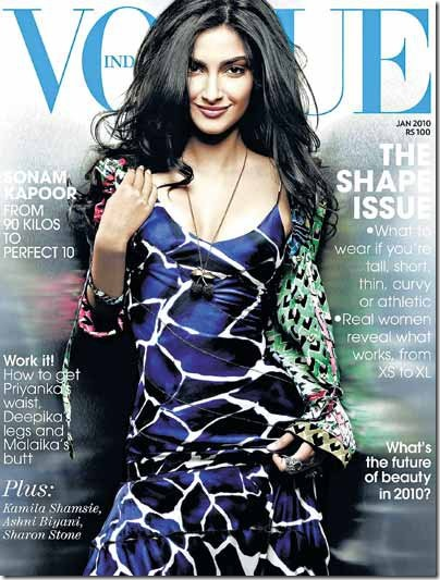 Sonam Kapoor on the Cover of Jan 2010 issue of Vogue India Magazine…