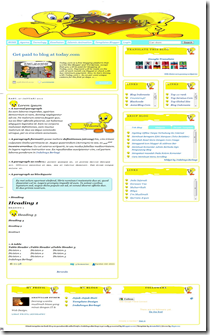 Tweety Bird Blogger Template, theme tweety