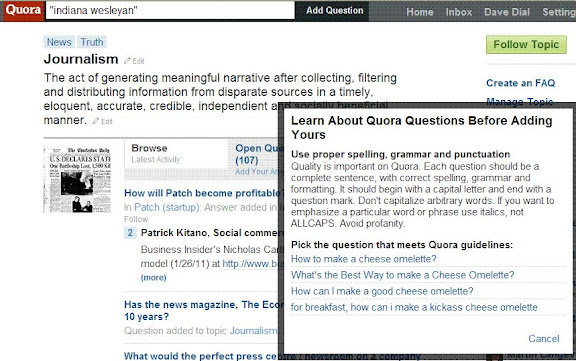 Quora.com showing interactive help box - Learn about Quora questions before adding yours.