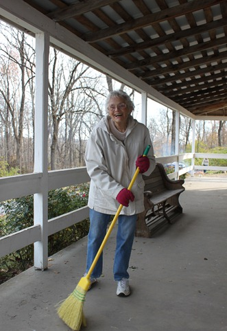Sweeping up at Pipe Creek Meeting House