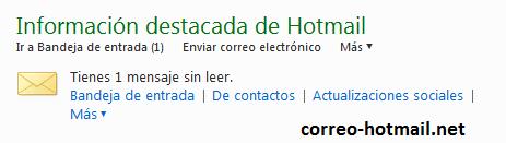 pantalla inicio correo Hotmail