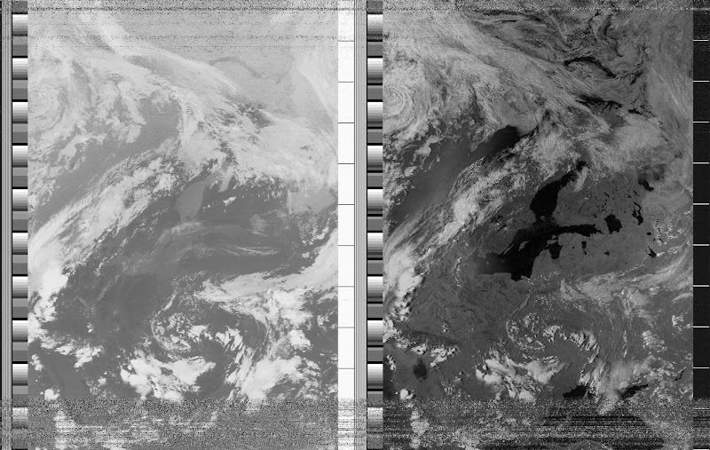NOAA-15 APT image CH A: Near IR. CH B: Thermal IR