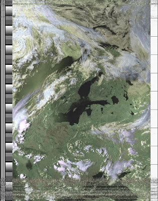 NOAA-15 APT image - HVCT false Color