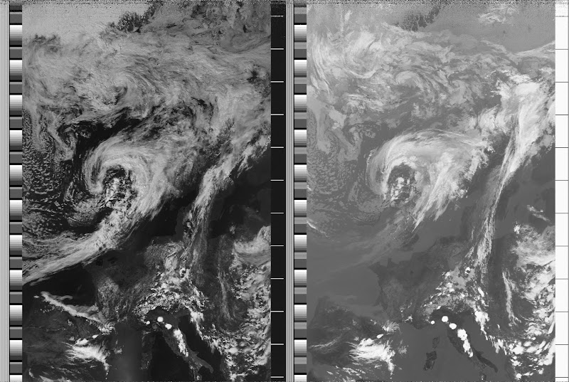 NOAA 18 northbound 59W at 04 Jul 2010 12:38:15 GMT on 137.10MHz, contrast enhancement, Normal projection, Channel A: 1 (visible), Channel B: 4 (thermal infrared)
