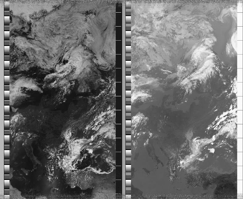 NOAA 18 northbound 51E at 10 Jul 2010 11:28:50 GMT on 137.9125MHz, contrast enhancement, Normal projection, Channel A: 1 (visible), Channel B: 4 (thermal infrared)