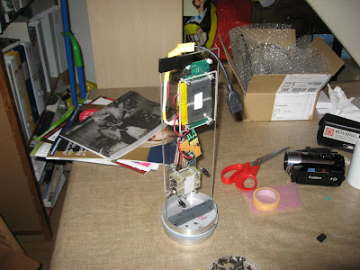 The 1 Ah LiPo batteries mounted on the internal frame of the rocket.