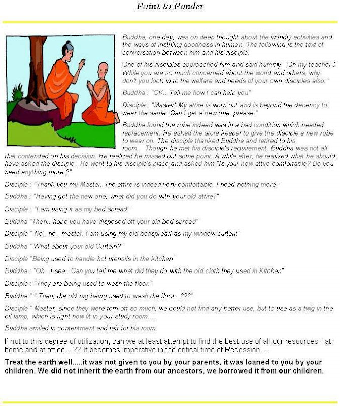 Point to Ponder - Buddha and His Disciple