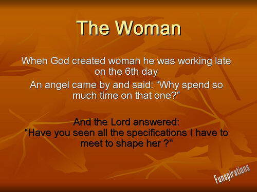 When gOd created wOman