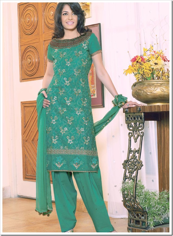Green Thread Embroiderd Salwar Kameez