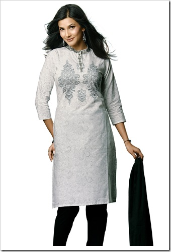 White cotton shirt with black pyjami & embroidery