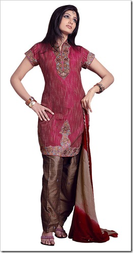 Round kameez with Patiala Salwar