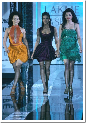 Priyanka, kangana & mugdha godse walking on ramp for Narendra kumar fashion designer india at Lakme Fashion week in Mumbai