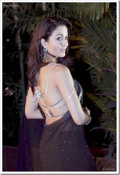 amrita in black stylish sari