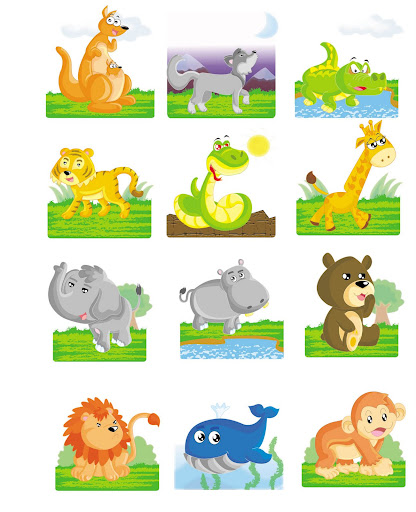 dentro de varios dibujos de animales cuales son los salvajes