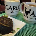Our order in Kangaroo Coffee Company: Chocolate Matcha Cake, White Chocolate Mocha and Kangaccino