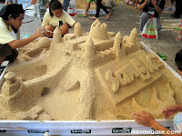 Participants hard at work in the Sanuk Sandcastle Competition in Davao City
