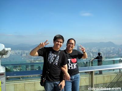 Doing the Korean pose at The Peak in Hong Kong