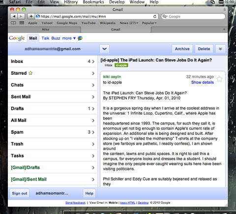 iPad-edition gmail on Mac Safari