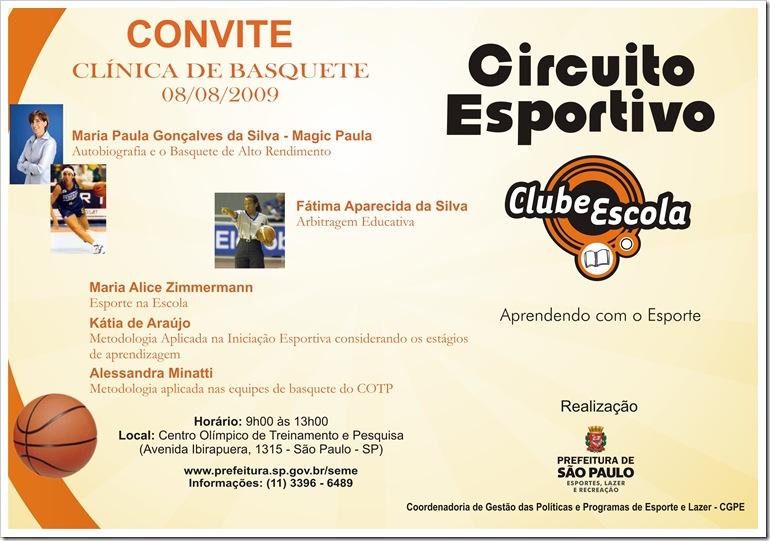 Convite - Clínica de Basquete - Aprendendo com o Esporte