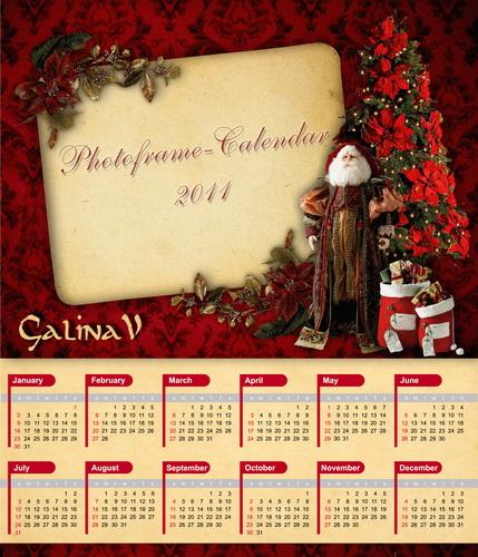 Рождественская фоторамка и календарь на 2011