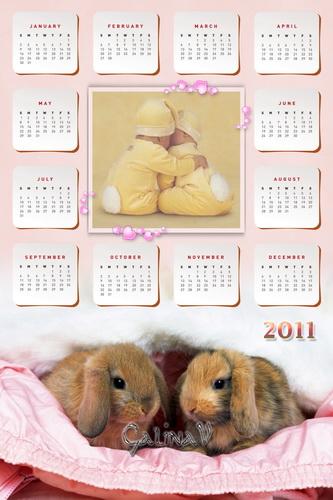 Фоторамка и календарь на 2011 - Кролики