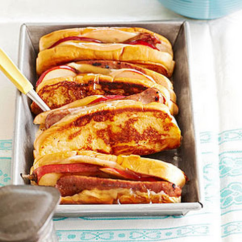 "French-Toasted Sausage and Pear ""Hot Dogs"""