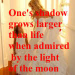 One's shadow grows larger than life when admired by the light of the moon