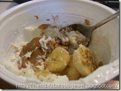 Fage with bananas and almond butter