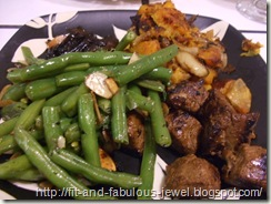 roasted butternut squash with green beans almondine and beefless tips