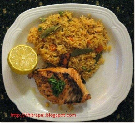 Chitra Pal Grilled Salmon with Tomato Rice