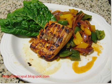 Chitra Pal Grilled Salmon with Bell Peppers