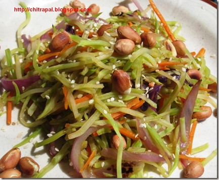 Chitra Pal Quick and Easy Cole Slaw Stir fry with Peanuts