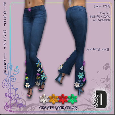 D-DESIGN Flower Power jeans png