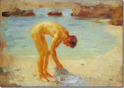 Tuke,_Henry_Scott_(1858–1929)_-_1928_-_Figure_study_for_'Aquamarine'