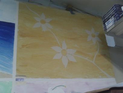 Textura de parede com desenhos de flores