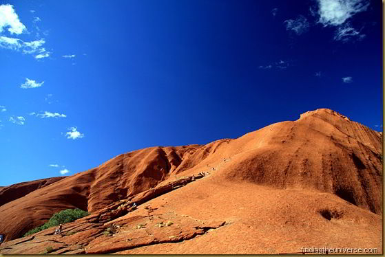 The climb up Uluru. A handy rail to follow.. and many many people to do it with!