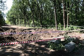 Начало просеки огорожено ленточкой, прокопан ров и навалены бетонные глыбы (ок. переезда ДЖД, 19.06.2010)