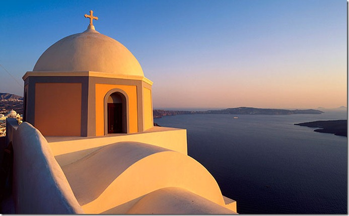 Greece, Ellás, Aegean Islands, Cyclades, Santorini Island, Thíra, Fira, church