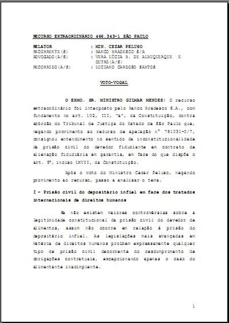 Voto Proferido pelo Eminente Ministro Gilmar Mendes sobre a Prisão Civil por Dívida. Hierarquia Supraconstitucional dos Tratados Internacionais Sobre Direitos Humanos